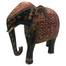 Folk Art Polychrome Elephant Wood Figural Statue India early 1900s