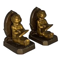 NuArt Creations Child Writing Bookends N.Y.C. Art Deco