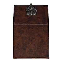 Victorian Burled Walnut & Silver Calling Card Case c. 1860 FREE SHIPPING!