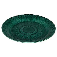 Wedgwood Majolica Sunflower & Basketweave Green Glazed Plate c. 1877 FREE SHIPPING!