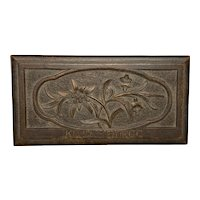 Black Forest Stamp Box Carved Edelweiss Flower signed K L. SCHEIDEGG