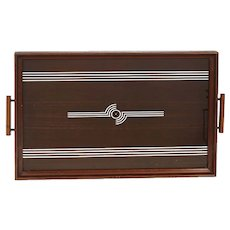 Art Deco Mahogany Serving Tray FREE SHIPPING!