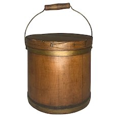 Antique Firkin Sugar Bucket with Lid & Wooden Bail Handle 19th Century FREE SHIPPING!