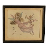 Antique Watercolor Painting Angel & Cupid FREE SHIPPING!