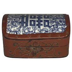 Antique Chinese Porcelain Shard & Red Lacquer Box