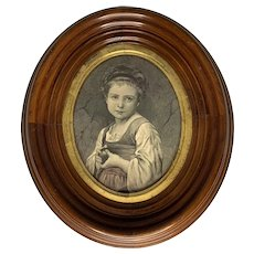 "Victorian Oval Walnut Framed Jonnard Engraving titled, ""Eve"" after Bouguereau Dated April 1876"