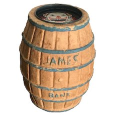 James Salt Water Taffy Paper Mache Barrel Bank (Mid Century Atlantic City, N.J.)