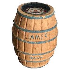 Jame's Salt Water Taffy Paper Mache Barrel Bank (Mid Century Atlantic City, N.J.)