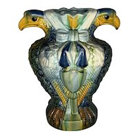 19th Century Majolica Eagle Vase FREE SHIPPING!