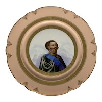 Old Paris Porcelain Portrait Plate Victor Emmanuel II of Italy C. H. Pillivuyt & Cie Medaille D'Or Exp. 1867