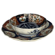 Antique Japanese Imari Low Bowl & Plate Edo Period