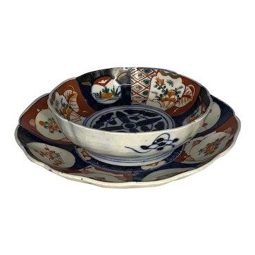 Antique Japanese Imari Low Bowl & Plate Edo Period
