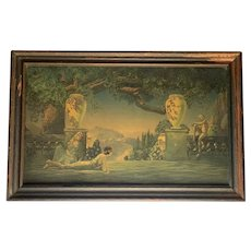 Art Deco Roy Grossman Garden of Melody L. A. Publishing Company Lithograph Under Glass Original Period Frame c. 1920s