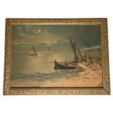 Antique James Lee Lithograph The Fisherman's Return Under Glass Period Gilt Gesso Frame c. 1904 Chicago
