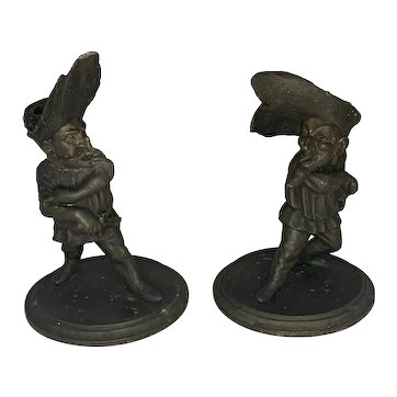 After Francois George Musketeer Caricature Figural Candlesticks Pair 19th Century France RARE!