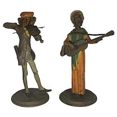 After Francois George Musician Caricature Figural Candlesticks Pair c. 1880s France RARE!