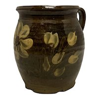 Redware Slip Decorated Floral Tankard Mid 19th Century, American FREE SHIPPING!