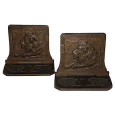 Arts & Crafts Bronze Lion Bookends Judd MFG. Co. #9734