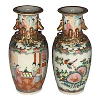 Pair 19th Century Chinese Canton Rose Medallion Vases