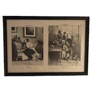 Reserved for George: L'Imagination by Daumier, Honore' (The Cramps & The Headache) Two Framed Lithographs FREE SHIPPING!