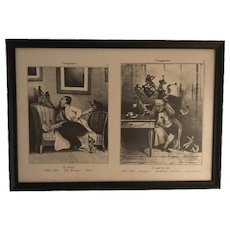 L'Imagination by Daumier, Honore' (The Cramps & The Headache) Two Framed Lithographs FREE SHIPPING!