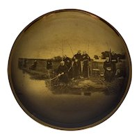 Antique Ridgways Sepia Monks Fishing Plate c. 1912 R. A. Ware Famous Paintings titled Thursday by Dendy Sadler