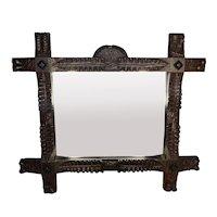 Antique Black Forest Framed Mirror Dated 1878