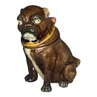 Antique Majolica Pug Dog Tobacco Jar Humidor c. 1870