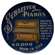 Antique Celluloid Pocket Mirror Advertising Schaeffer Pianos c. 1910