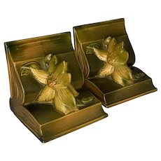 Roseville Pottery Clematis Bookends #14 c. 1940s FREE SHIPPING!