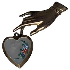 Mother of Pearl Brass Hand & Heart Locket Pin Brooch FREE SHIPPING!