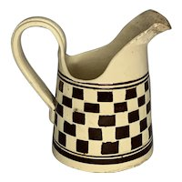 Antique Mocha Mochaware Checkered Pitcher FREE SHIPPING!