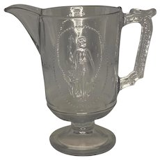 EAPG Richards & Hartley Guardian Angel Cupid and Venus Flint Glass No. 500 Pitcher c. 1874-1885