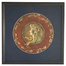 Original Art Nouveau Mucha Style Portrait Painting FREE SHIPPING!