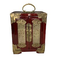 Chinese Rosewood Brass & Jade Jewelry Box FREE SHIPPING!