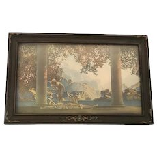 Original Daybreak by Maxfield Parrish Lithograph Reinthal & Newman N.Y. under glass in Art Deco Frame c. 1920s