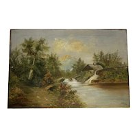 Antique Folk Art English Oil Painting River Mill Scene signed & dated J. Brown 1900
