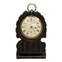 Antique Black Forest Pocket Watch Holder Travel Case plus .935 Silver Swiss Watch