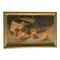 Charles Arthur Fries Basket of Fruit Oil on Canvas