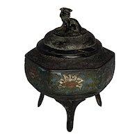 Chinese Champleve Enamel Bronze Censer