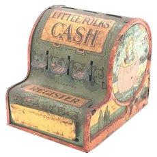 Little Folks Tin Litho Toy Cash Register c. 1920s RARE