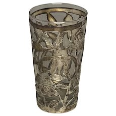 Mexican Sterling Silver Overlay Glass Tumbler