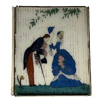 Art Deco Reverse Painted Glass Courting Scene FREE SHIPPING!