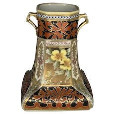 Nippon Morimura Brothers Hand Painted Moriage Vase c. 1920s FREE SHIPPING