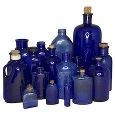 Primitive Cobalt Glass Bottle Collection