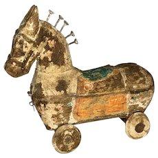 Folk Art Polychrome Horse Box on Wheels Pull Toy