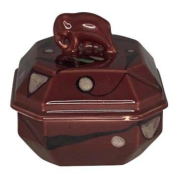 Rare Art Deco Ceramic Elephant Powder Jar FREE SHIPPING!