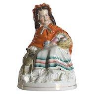 Antique Staffordshire Red Riding Hood & Wolf Figurine c. 1850-1870