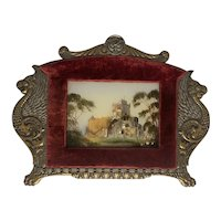 Antique Reverse Glass Painting of Abbey