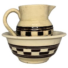 Antique Child's Mocha Mochaware Checkered Pitcher & Bowl FREE SHIPPING!